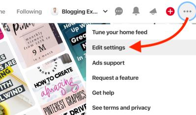 Cómo editar la configuración del perfil de Pinterest