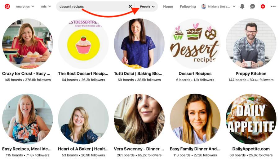Sigue a influencers y grandes cuentas en tu nicho en Pinterest