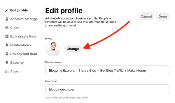 Cómo subir una nueva foto de perfil de Pinterest