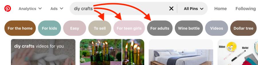 Tareas rápidas de marketing de Pinterest de 5 minutos: encuentre palabras clave de Pinterest de cola larga usando la barra de búsqueda