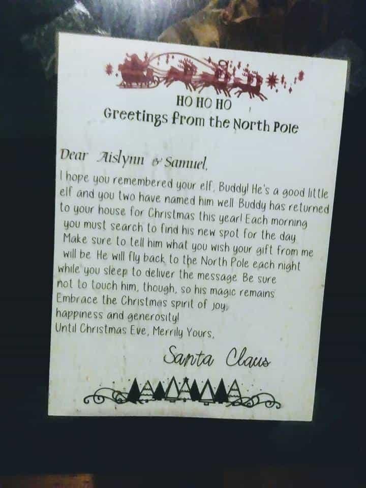 Una carta de bienvenida de Santa, hecha por mí usando el espacio de diseño Cricut.