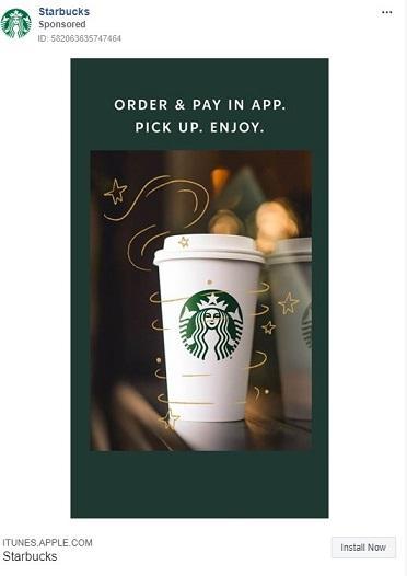 Anuncio de Facebook de Starbucks