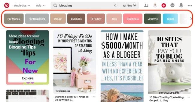 Cómo encontrar el público objetivo de su blog: encontrar palabras clave de Pinterest populares y relacionadas para ideas y temas de publicaciones de blog