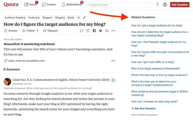 Cómo encontrar el público objetivo de su blog: uso de Quora para encontrar ideas de blogs en su nicho de blog