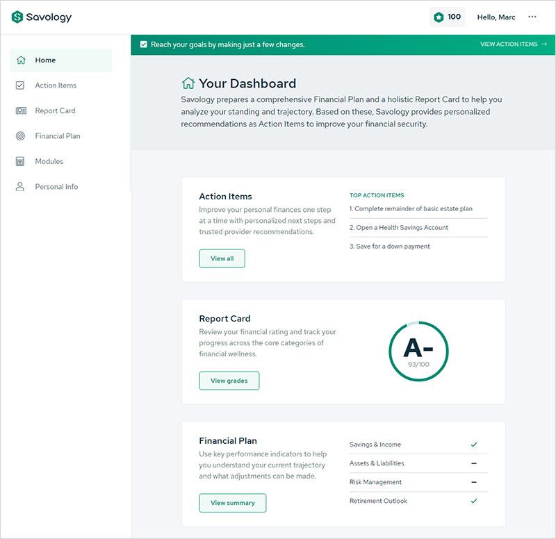 Una revisión de la plataforma de planificación financiera gratuita de Savology - Savology Dashboard
