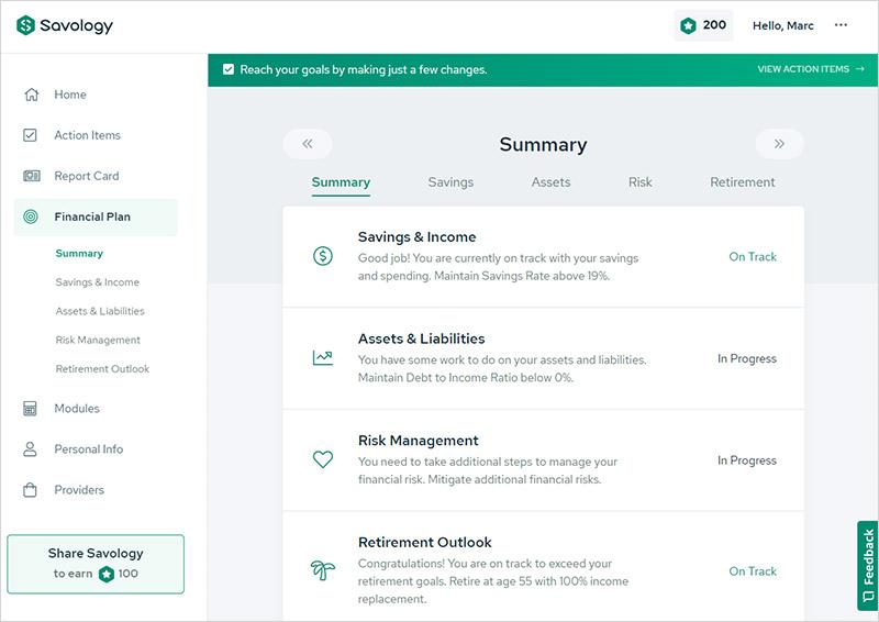 Una revisión de la plataforma de planificación financiera gratuita de Savology - Resumen del plan