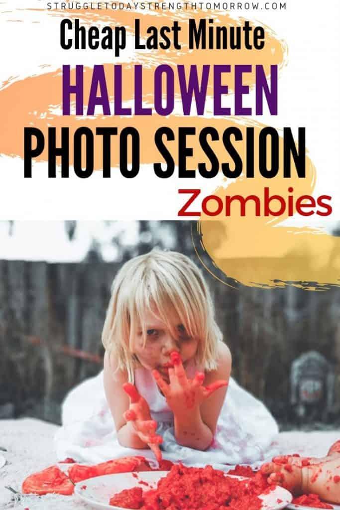 ¿Estás buscando una sesión de fotos de Halloween a última hora para tus hijos? ¡Mira esta increíble idea de zombis que nos costó menos de $ 20! Advertencia, ¡algunas de las imágenes se ven bien! #frugalfamily #frugalliving #diy #affordable #holidaybudget #budget #halloween #zombies #kids