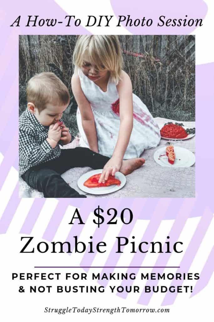 ¡Haz una sesión de fotos de bricolaje para ver cómo puedes hacerlo! ¡Un picnic de zombis de $ 20 en nuestro patio trasero creó las fotos más increíbles de nuestros hijos! ¡Nunca sabrías que éramos tan baratos! #frugalfamily #frugalliving #diy #affordable #holidaybudget #budget #halloween #zombies #kids