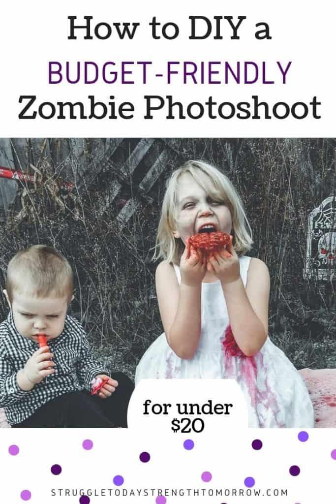 ¡Cómo hacer una sesión de fotos zombie económica por menos de $ 20! ¡Haga clic para ver cómo hicimos una increíble sesión de fotos con los niños y terminamos con algunas fotos fantásticas! No se necesitan habilidades de fotografía profesional (¡SÉ que no las tengo!) #Frugalfamily #frugalliving #diy #affordable #holidaybudget #budget #halloween #zombies #kids