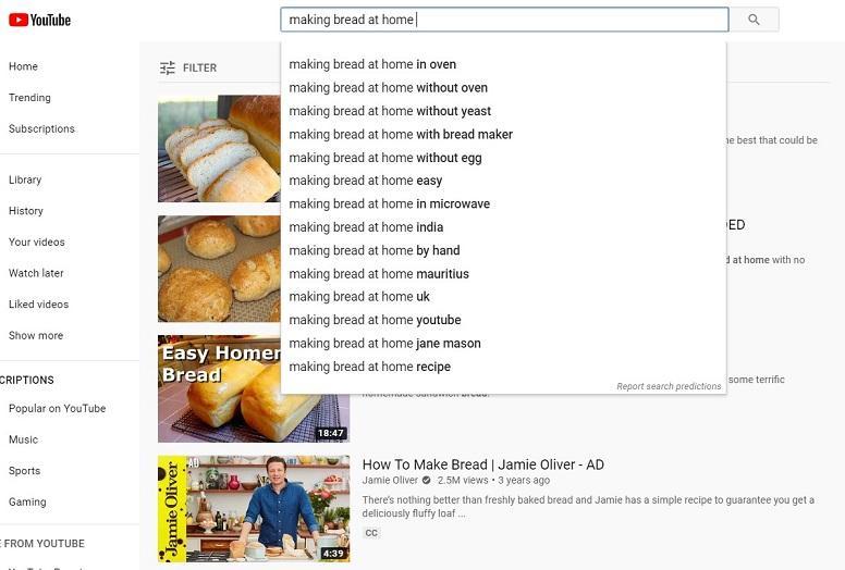 Publicidad de YouTube durante el ejemplo de búsqueda COVID-19
