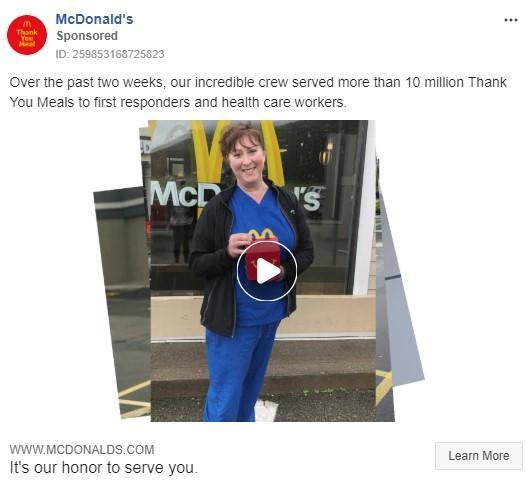 Anuncio de McDonald's en Facebook