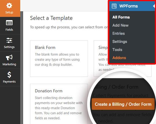 Crea un nuevo formulario de pedido