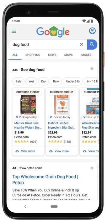 promoción de recogida en la acera en un anuncio de inventario local de Google