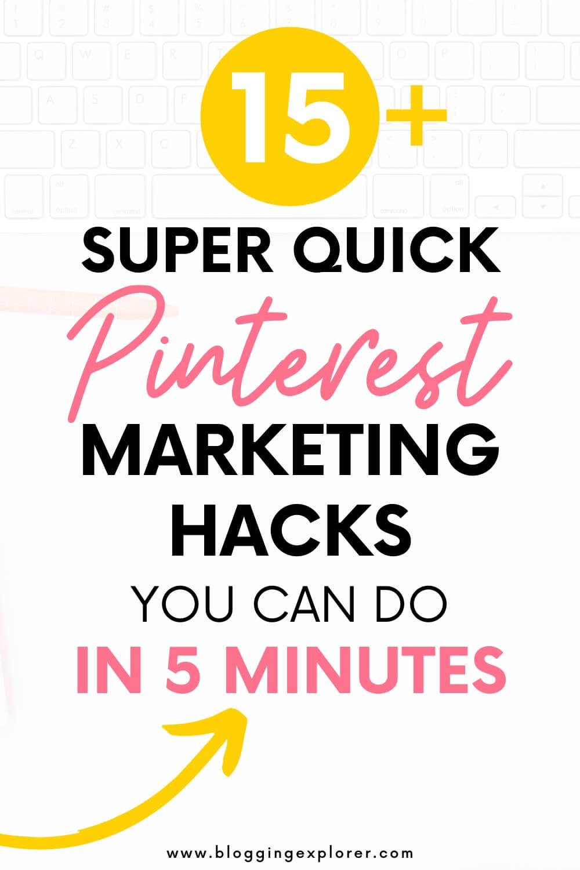 Cómo aumentar el tráfico del blog con Pinterest: tareas de marketing de 5 minutos para el blogger ocupado