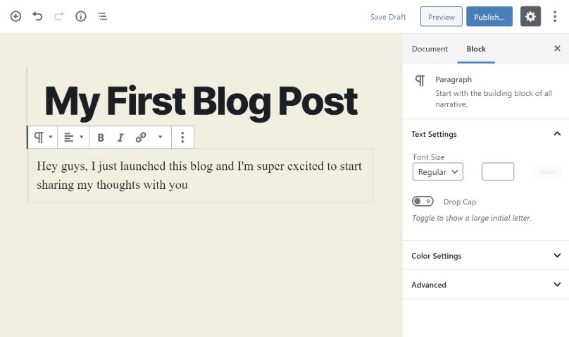 Agregar texto a tu blog