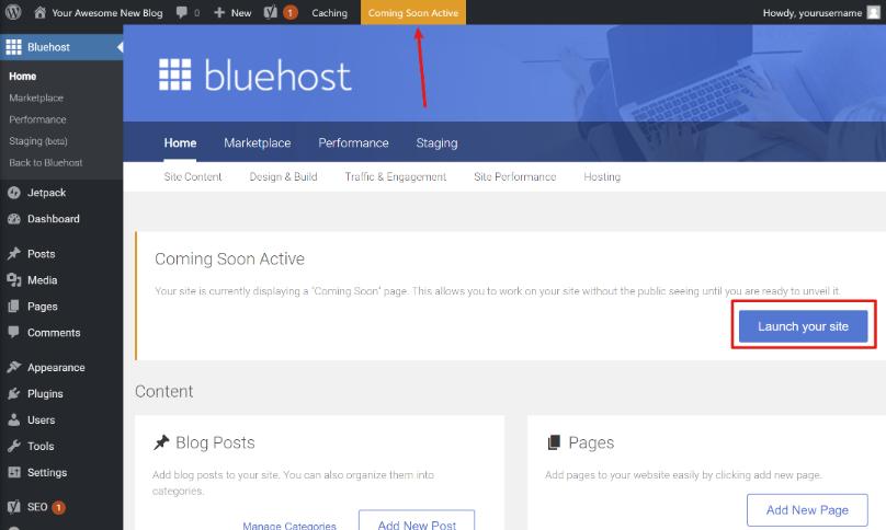 Cómo iniciar un blog y salir del modo Bluehost próximamente