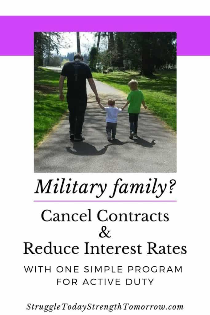 ¿Eres una familia militar? ¿Quieres pagar deudas y cancelar contratos sin repercusiones? Luego haga clic para leer sobre este práctico programa para servicio activo. #frugalliving #payoffdebt #familia #militar