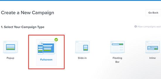 "Elija pantalla completa como tipo de campaña ""width ="" 489 ""height ="" 239"
