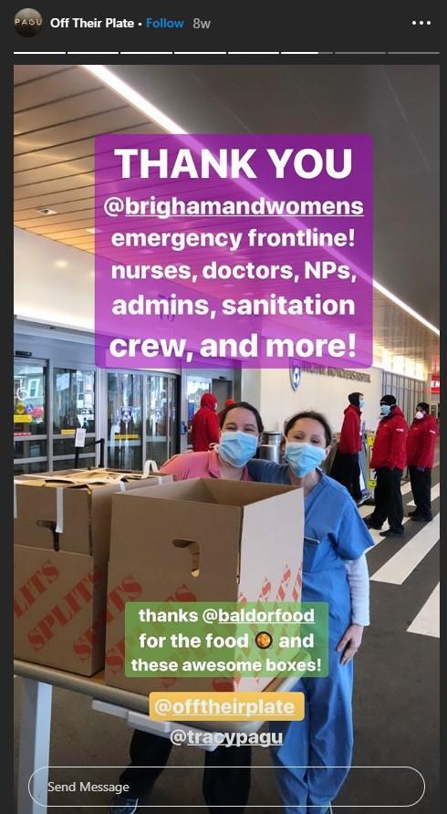 Publicación de Instagram de donar comidas