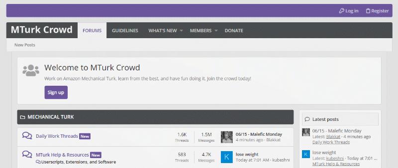 Página de inicio del foro MTurk Crowd