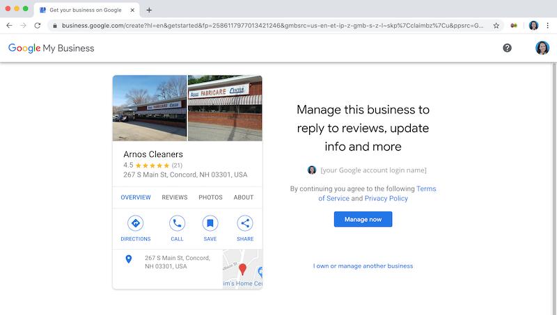 cómo crear y verificar su cuenta de google my business, ser dueño de este negocio, los limpiadores de arnos administran este negocio