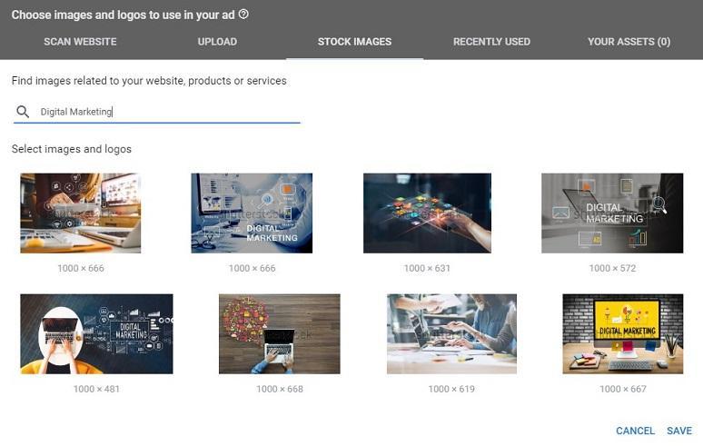 Opciones de imagen de anuncios de Google Discovery