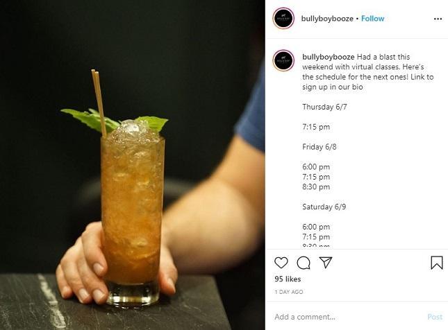 clase de cóctel virtual en Instagram de Bully Boy